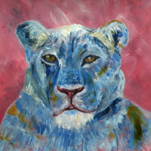 blue lioness painting by Caroline Skinner Art