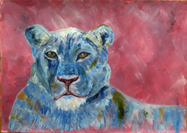 Blue and pink lion painting by Caroline Skinner