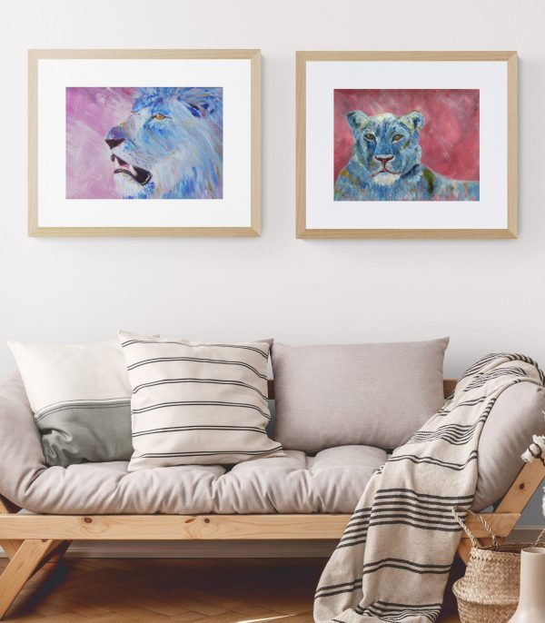 Blue lion and lioness paintings with dusky pink backgrounds