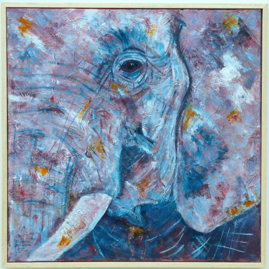 Elephant painting on textured box canvas