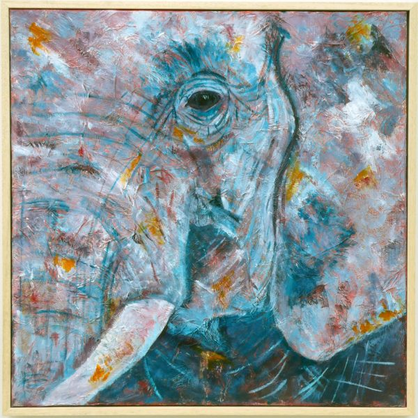 Square elephant painting in purple tea and orange shades