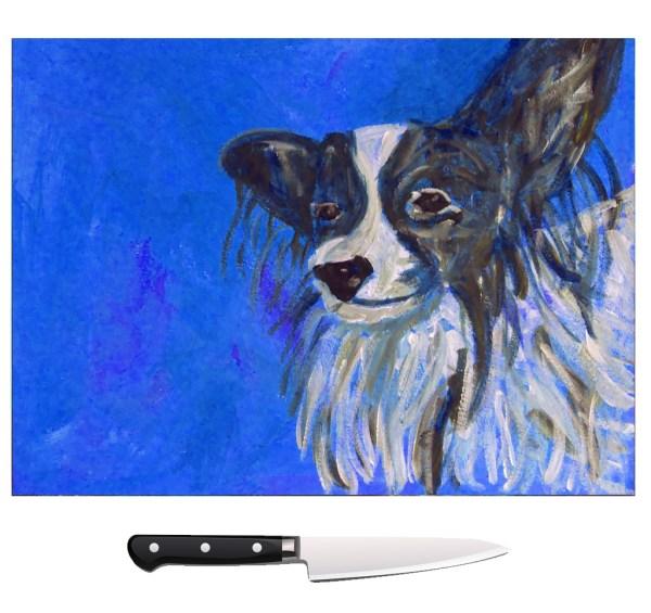 Blue Papillon dog glass chopping board