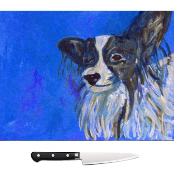 Blue Papillon dog glass chopping board