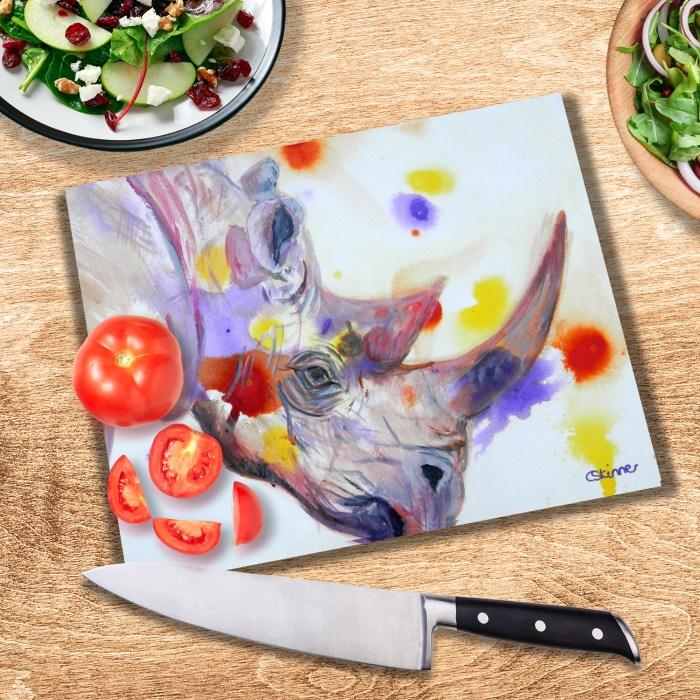 Purple rhino textured glass cutting board