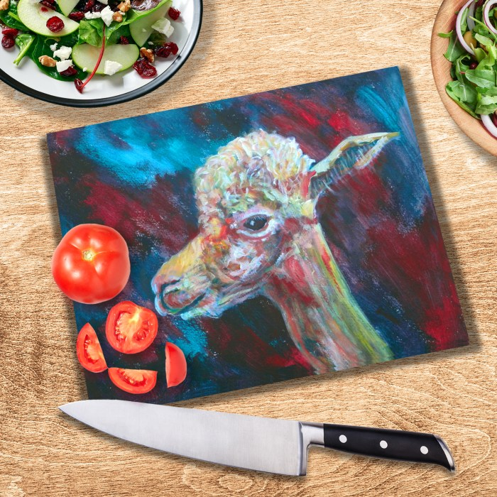 Blue and red llama glass cutting board
