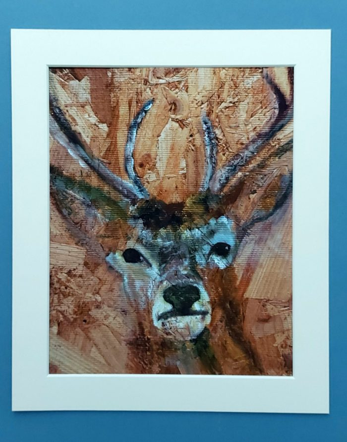 Stag print in mount