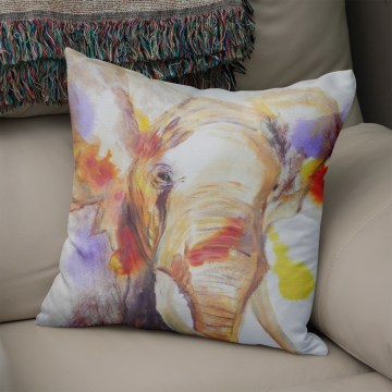African Elephant Faux Suede Cushion