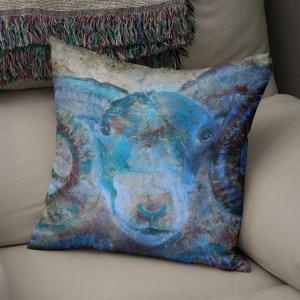 Blue ram faux suede cushion