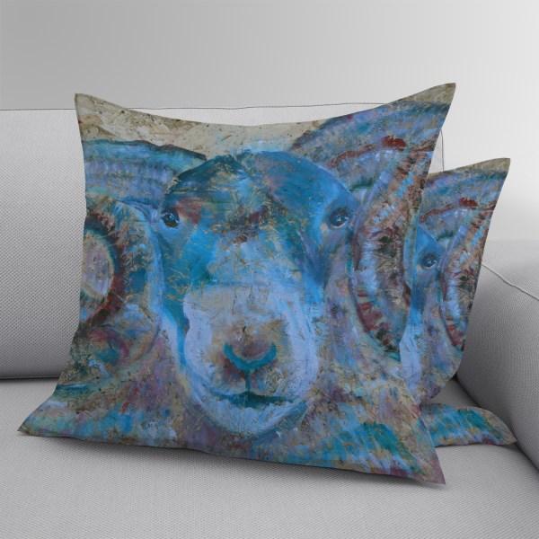 Blue sheep cushion