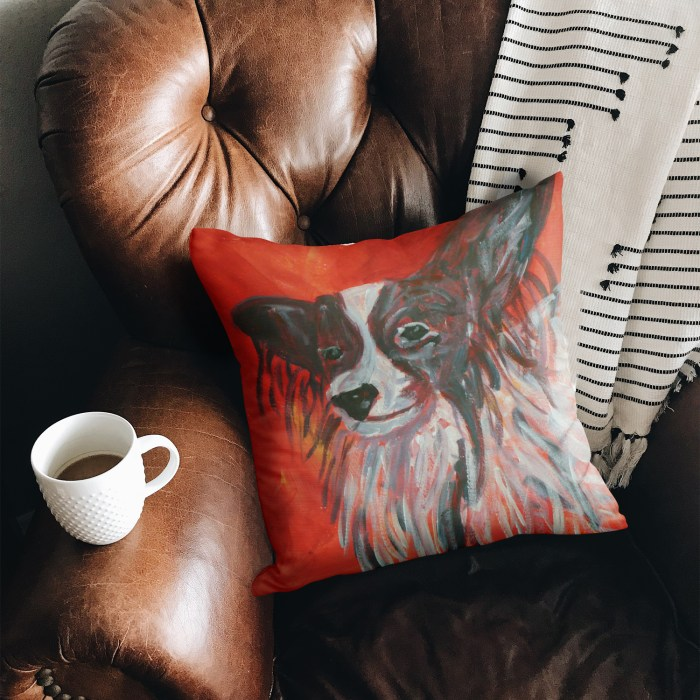 Faux suede cushion for Papillon dog lovers