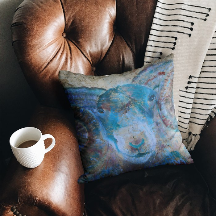 BLue sheep cushion in luxury suedette
