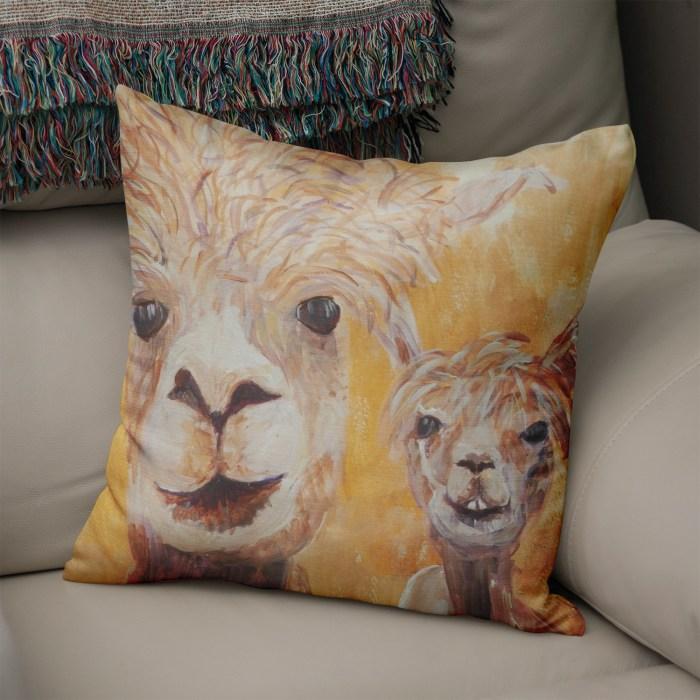 Golden yellow alpacas cushion