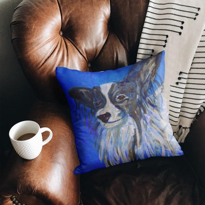 Blue faux suede dog cushion