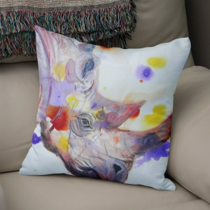 Purple rhino cushion for conservation projects