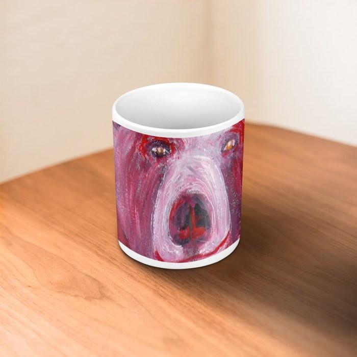 Red Bear on White Ceramic Mug