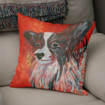 Red cushion with image of Papillon dog