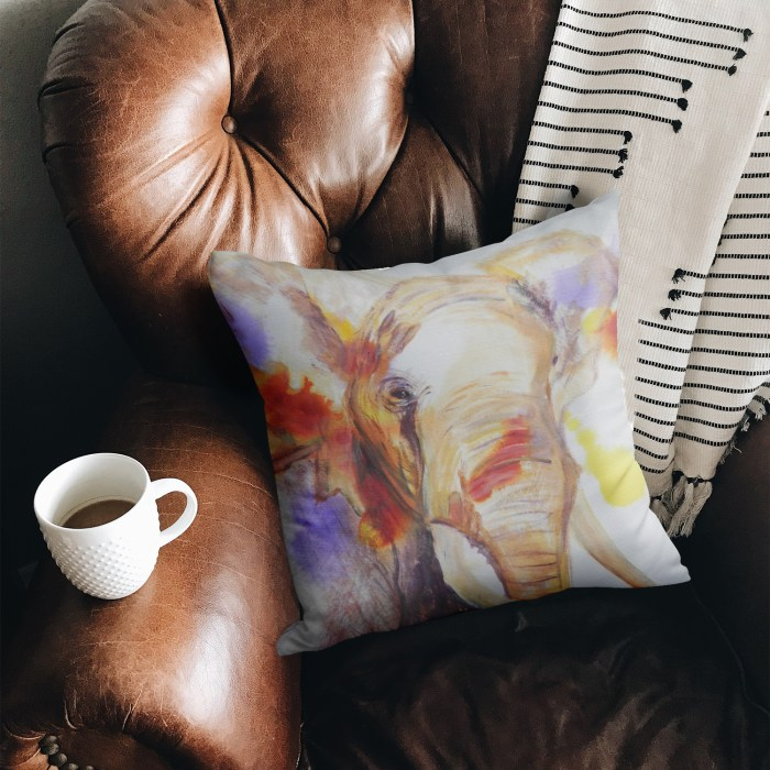 Square African elephant throw pillow