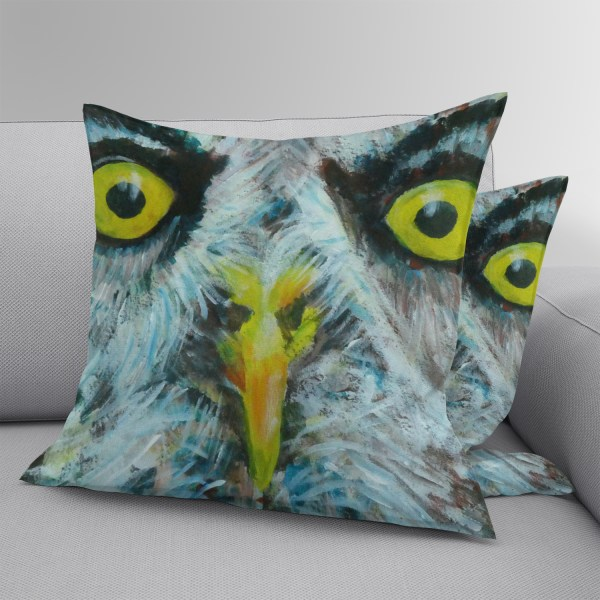 Grey owl faux suede throw pillow