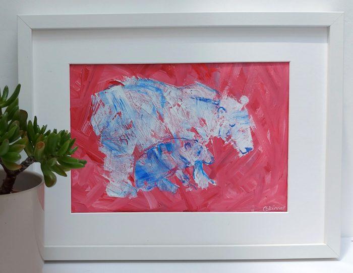 Polar bear and cub painting