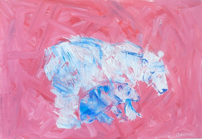 Polar Bear and Cub painting against red background