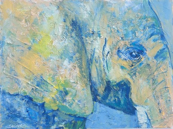 Jungle Disguise - blue and grren abstract elephant painting