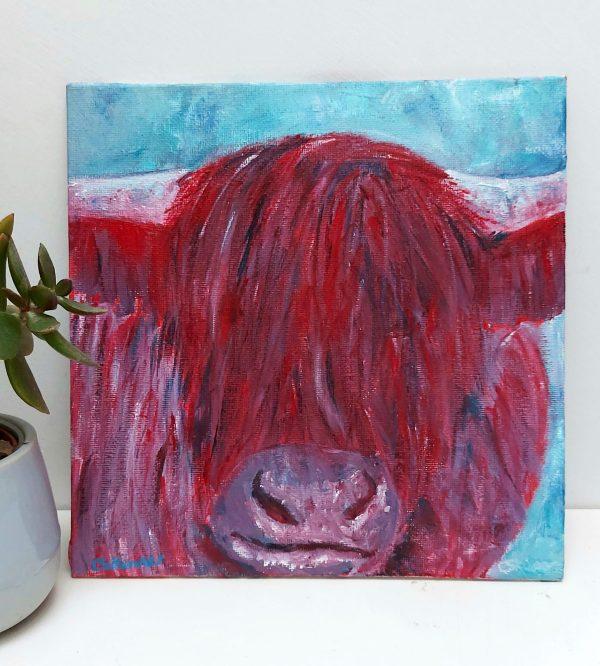 Red highland cow artwork by Caroline Skinner Art