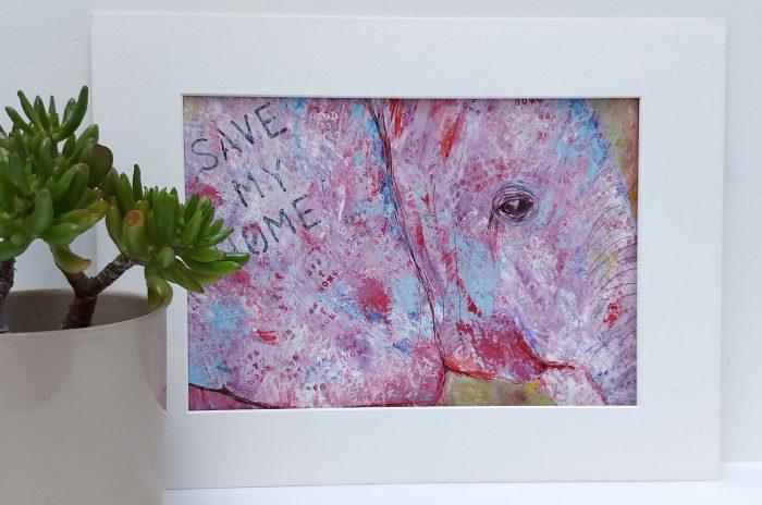 Pastel coloured elephant art by Caroline Skinner Art