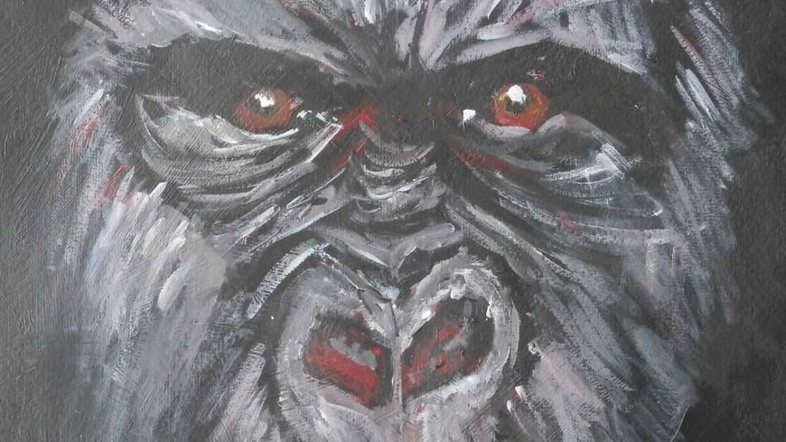 Gorilla with piercing red eyes, acrylic painting by Caroline Skinner Art