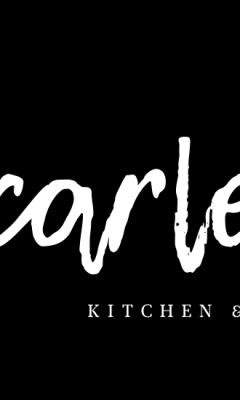 Scarlet written in handwritten type on a black background with Kitchen and Lounge description highlighting their business plan