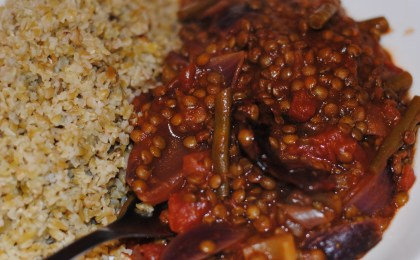 Smoky lentils with freekeh