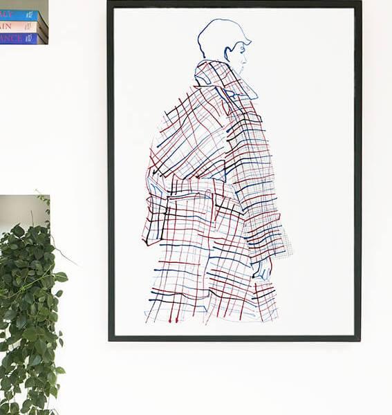 Checked Coat Fashion Illustration