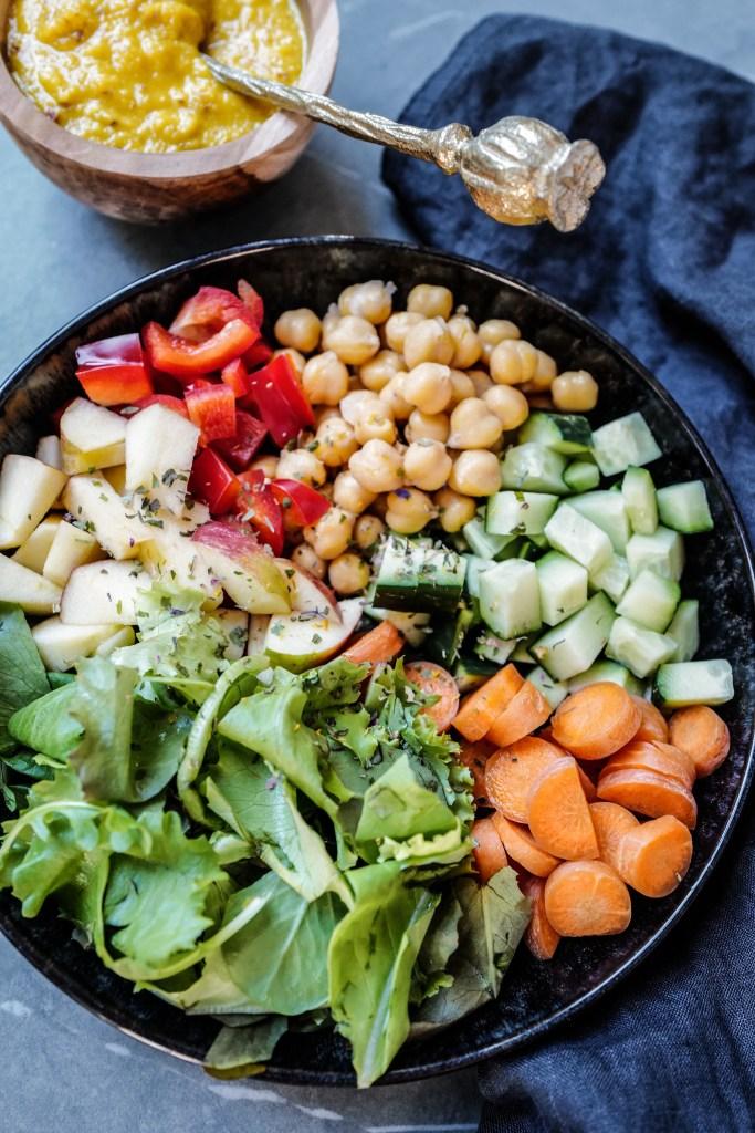 basisch essen, basische Ernährung, Säure-Basen-Balance, Säure-Basen-Haushalt, basische Rezepte, basenüberschüssige Ernährung, Basenfasten, zuckerfrei, Dressing, Buddha-Bowl, vegan, Nährstoffreich, Pfirsich-Dressing, fruchtiger Dressing, Rezept, Blog basische Ernährung