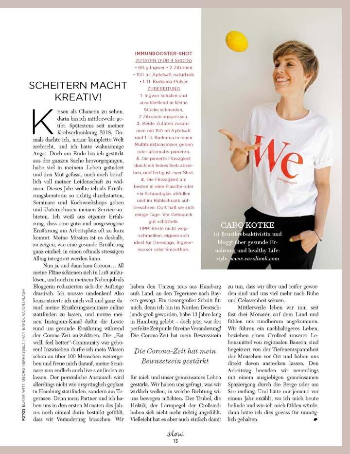 Carolin Kotke, Caro Kotke, Emotion Slow, Presse, Interview