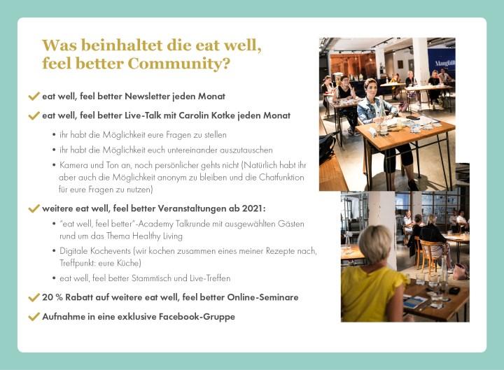 eat well feel better Community, eat well feel better, Ernährungscoaching, Ernährungsberatung, Carolin Kotke, Caro Kotke