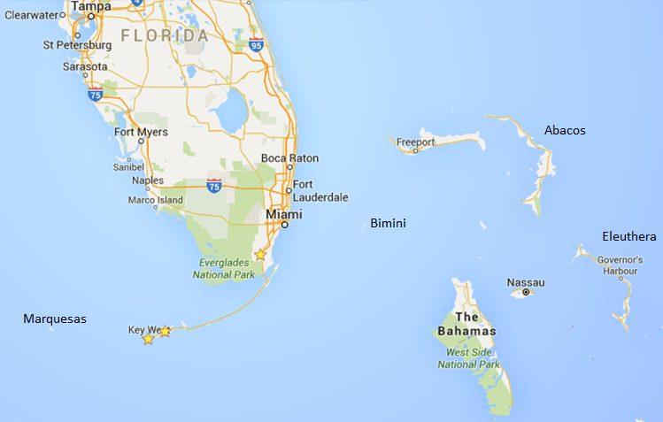 Florida Keys and Bahamas map