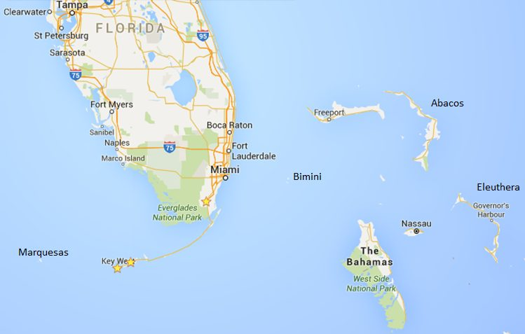 Florida Keys and Bahamas map