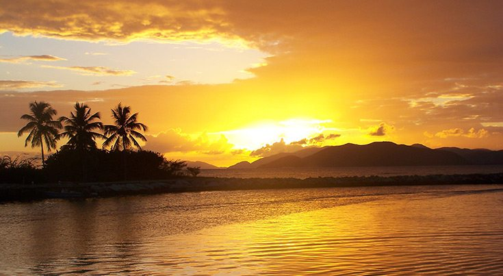 Golden sunset in the British Virgin Islands BVI