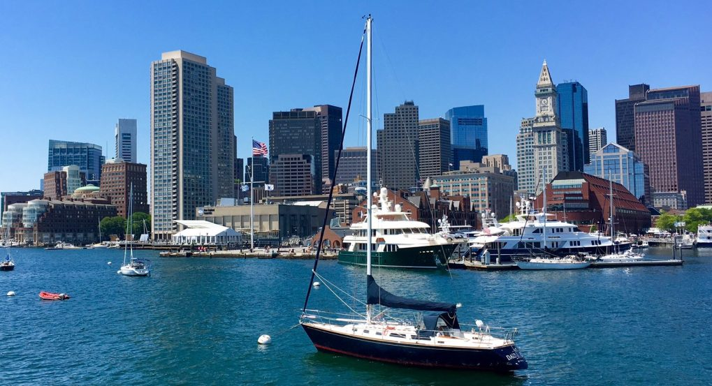 Boston Harbor with boats