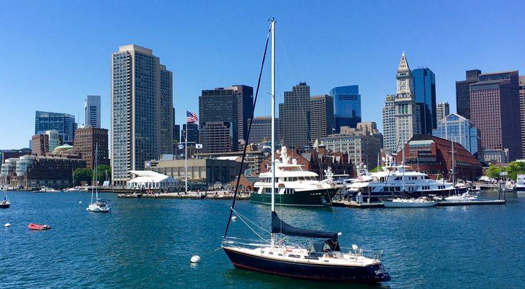 Boats in Boston Harbor in Massachusetts, New England
