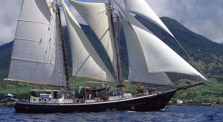 72ft sailing yacht BONNIE LYNN is a modified version of designer Merrit Walter's Trade Rover Schooner