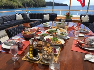 Dining onboard 142' LADY J in St. Lucia