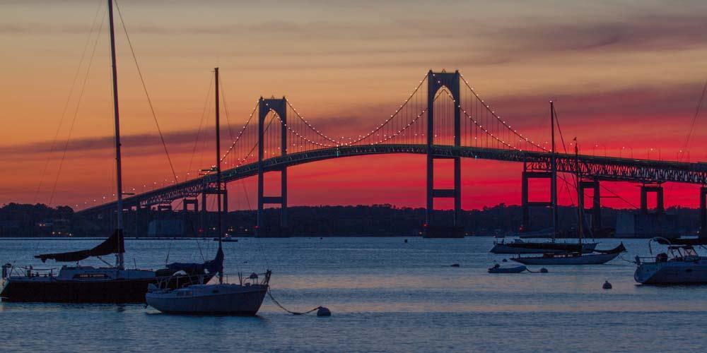 Newport bridge at sunset Photograph © Frank Ficken