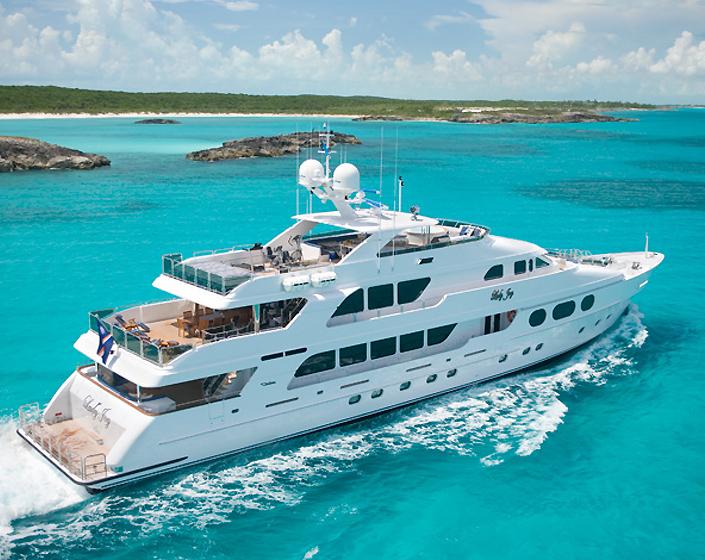 Main shot of 155' motor yacht LADY JOY was built by Christensen Shipyard