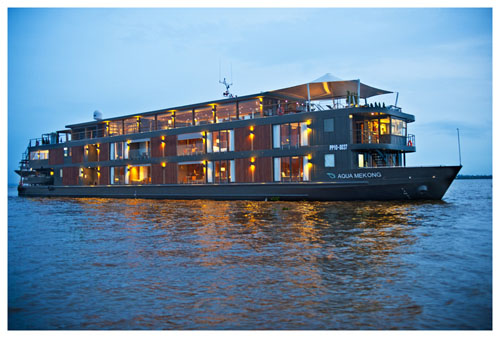 The luxurious 205ft AQUA MEKONG Exterior View operating in southeast asia