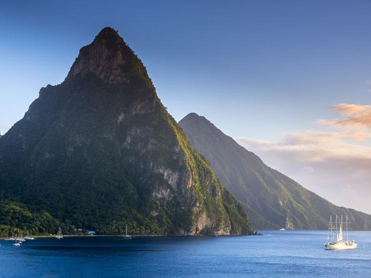 St. Lucia peaks in the Caribbean's Windward Islands w luxury yacht