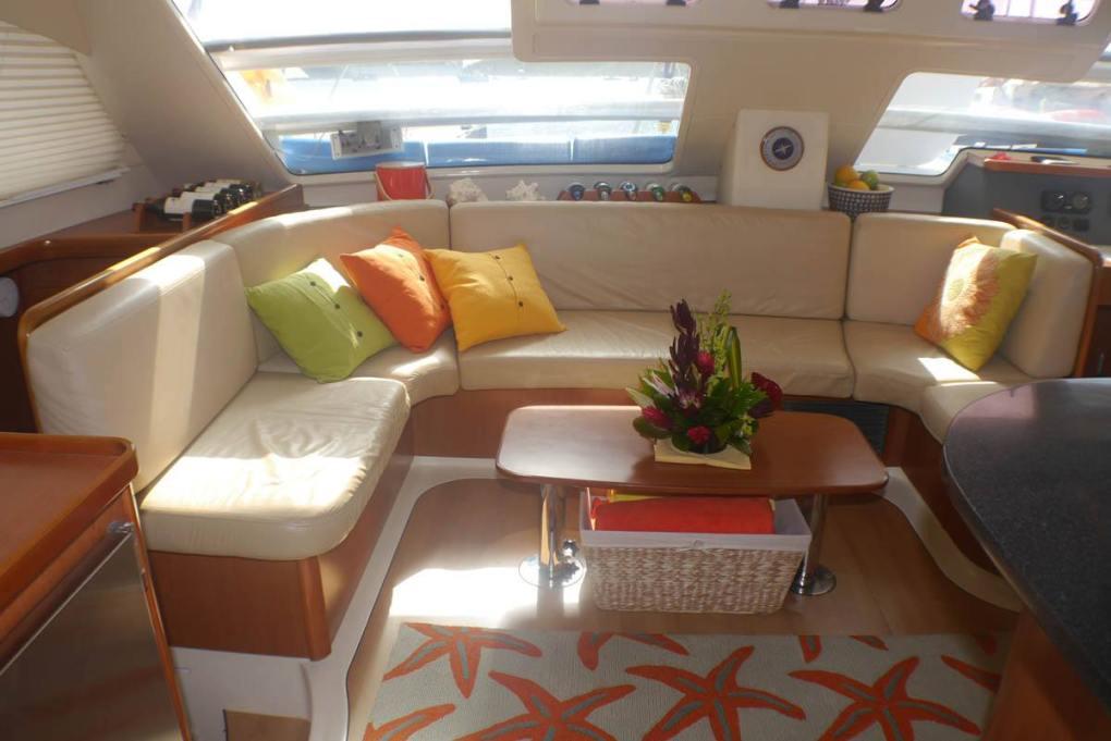 Comfortable salon seating on the S/Y STARFISH