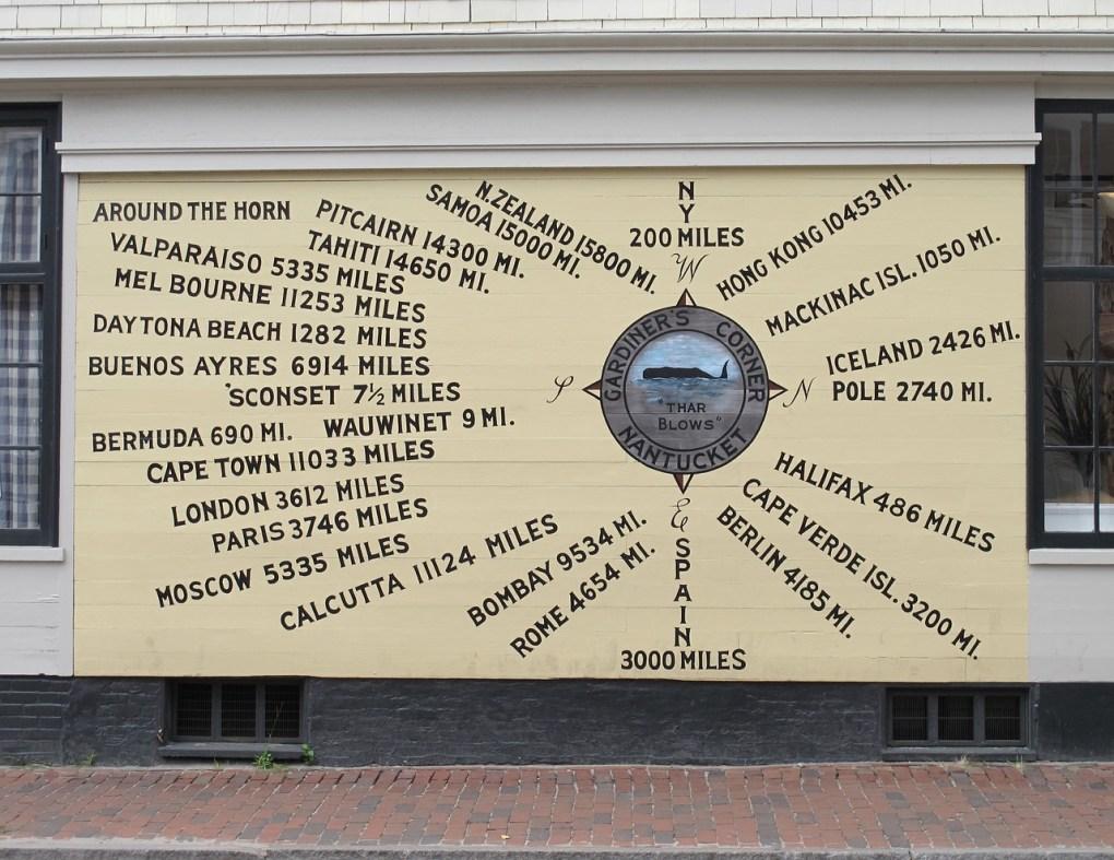 Gardiner's Corner distance chart, Nantucket, Massachusetts Nantucket getaways by land and sea
