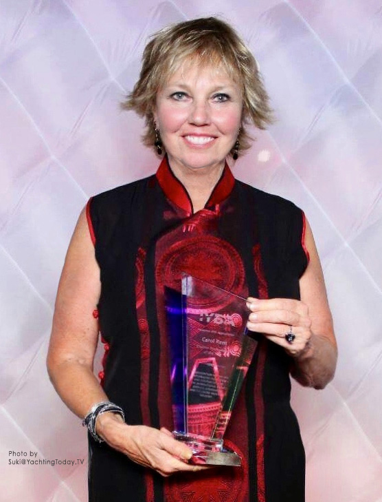 Carol Kent with her IYBA award for Charter Professional of the Year ~ Photo by Suki@YachtingToday.TV