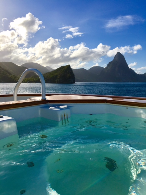 View from the Jacuzzi on 142' motor yacht LADY J in the Pitons of St. Lucia