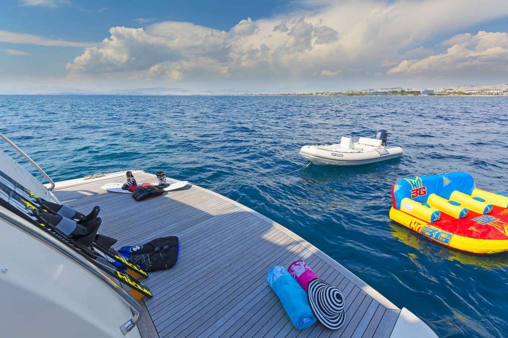 Toys off the aft deck of the motor yacht ALFEA